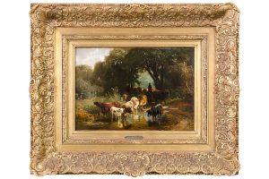 Friedrich Voltz Ölbild Kühe an der Tränke 35 x 24 cm