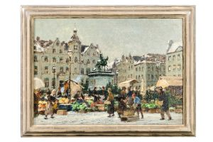 Hans Hermann 1862 - 1942 Rathaus D´dorf Markt Öl auf Leinwand