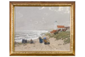 Albert Stagura  1866-1947 Aquarell/Farbkreide Katwijk in Holland