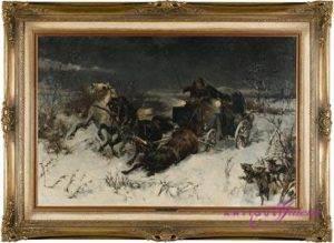 Alfred von Wierusz-Kowalski 1849-1915 Öl auf Leinwand 80 x 52 cm