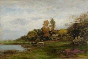 Eugen Dücker 1841-1916 Öl auf Holz 44 x 65 cm