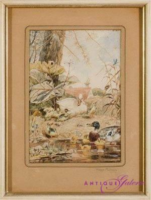 Hugo Mühlig 1854-1929 Aquarell 12 x 16 cm