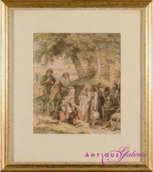 Jakob Becker 1810-1872 Aquarell-Papier 16 x 18 cm
