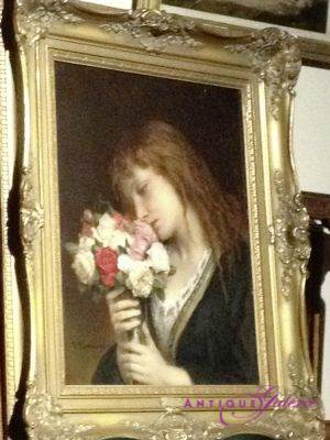 Jan Frans Portaels 1818-1895 Frau mit Blume Öl auf Leinwand 70 x 50 cm