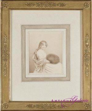 Louis Pierre Denant Feder und Pinsel 12 x 9 cm