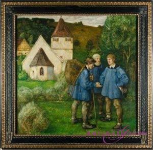 Rudolf Schiestl 1900-1974 Öl auf Holz 58 x 58 cm