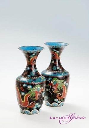 Paar Cloisonné-Vasen / Meiji