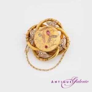 Brosche 19. Jahrhundert 18 Karat Gold Perlen mit Rubin (Nr.4)
