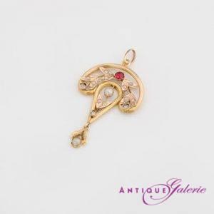 Brosche 19. Jahrhundert 18 Karat Gold Perlen mit Rubin (Nr.2)