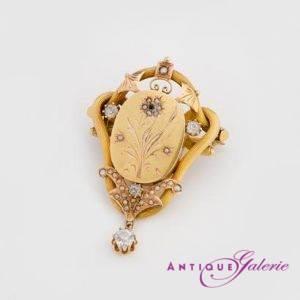 Brosche 19. Jahrhundert 18 Karat Gold Perlen mit Rubin (Nr.1)