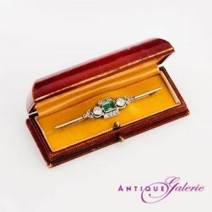 Brosche Diamanten-Smaragd