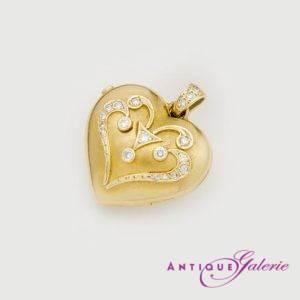 Herzanhänger mit Brillanten 14 Karat Gold