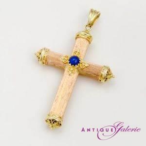 Kreuz mit Lapis 18 Karat Gold