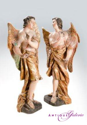 Engelpaar Holz gefasst 17. Jahrhundert