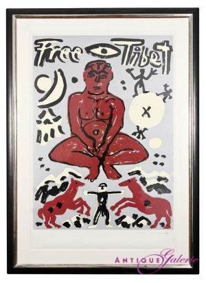 A.R. Penck geb. 5.Okt 1939 in Dresden Farbserigrafie gerahmt Format 110 x 150 cm