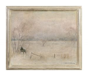 Blick aus dem Atelier 1940 Öl Leinwand 56 x 45 cm Otto Modersohn 1865-1943