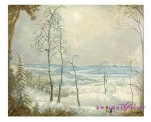 Carlo Mense winterliche Rheinlandschaft Öl Holz 58,5 x 71,5 cm