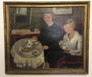Charlotte Kleiber München im Umkreis mit Gabriele Münter Ehefrau von Prof. Julius Hess Am Kaffeetisch datiert 1921 Öl/Leinwand 64 x 54 cm