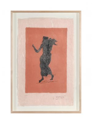 Georges Braque 1882 – 1963 Personnages sur fond rose 1960 Radierung Multiple Farblithographie 39 x 25 cm signiert